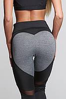 Лосины для фитнеса леггинсы для спорта с сеткой серые черные №37 XL — спортивные