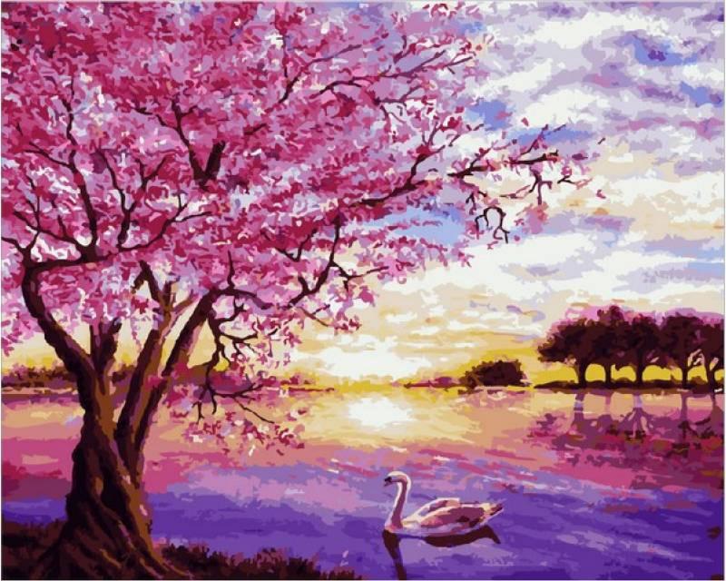 "Картина по номерам 50х40см Mariposa Turbo ""Закат в розовых тонах"""