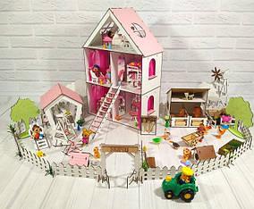 Будиночок для маленьких ляльок ЛОЛ з меблями і двориком