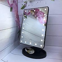 Дзеркало з підсвічуванням для макіяжу 22 led - чорне