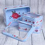 Набор прямоугольных коробок с прозрачной крышкой из 3-х шт голубого цвета с цветами, фото 2
