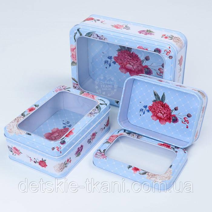 Набор прямоугольных коробок с прозрачной крышкой из 3-х шт голубого цвета с цветами
