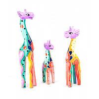 Жирафы 3 шт деревянные (25х5,5х3 см 19,5х5х3 см 15х4х3 см) , Статуэтки и фигурки