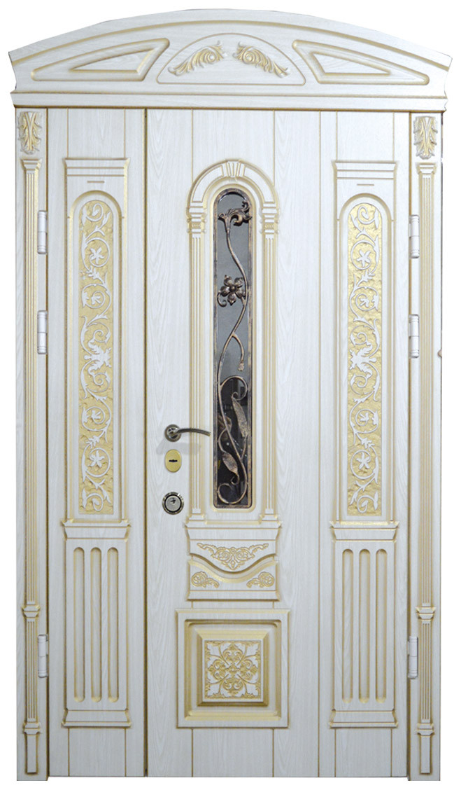 Двери уличные, модель 2 Элит 1170*2050, VINORIT, белые с золотой патиной, ковкой, стеклопакетом, 3D фрезеровка
