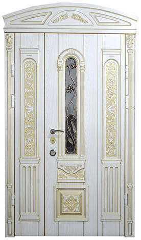 Двери уличные, модель 2 Элит 1170*2050, VINORIT, белые с золотой патиной, ковкой, стеклопакетом, 3D фрезеровка, фото 2