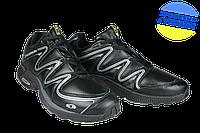 Мужские кроссовки беговые кожаные s salamon 433319 b. черные   весенние