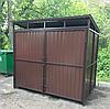 Контейнерная площадка 3-х местная с крышей, с воротами. Серия Эко.