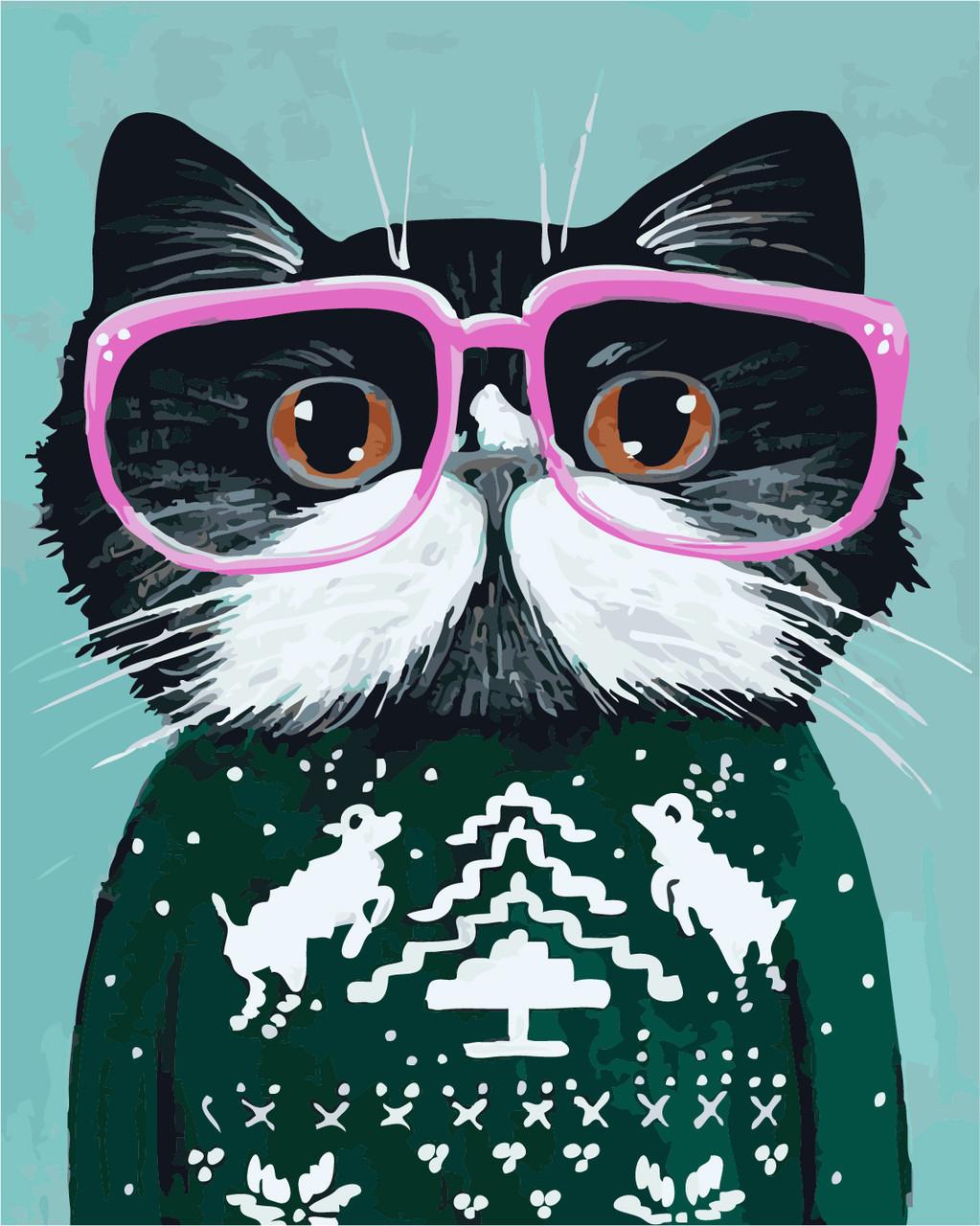Картина по номерам Кот в очках 40 х 50 см (AS0267)