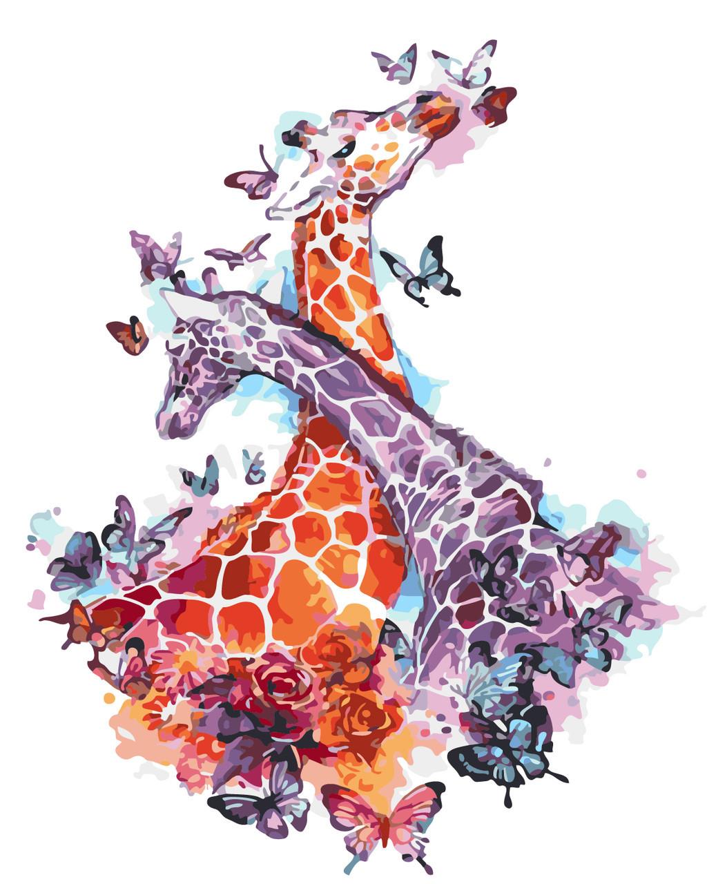 Картина по номерам Влюбленные жирафы 40 х 50 см (AS0269)