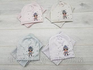 Трикотажный комплект шапка и хомут LOL подкладка х/б р48-52. 5 шт в упаковке.