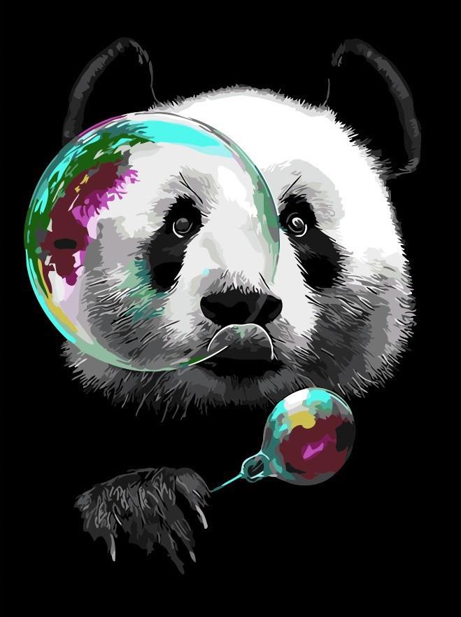 Картина за номерами Панда і мильні бульбашки 30 х 40 см (AS0313)