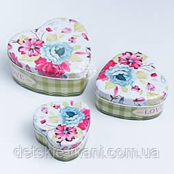 """Набор коробок-сердечек из 3-х шт """"Садовые цветы"""""""