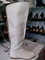 Сапоги женские перфорация на широкую ногу 37 размеры Прессованная кожа !