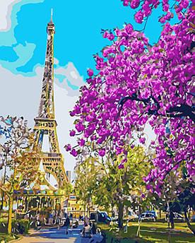 Картина по номерам Париж. Цветение вишни 40 х 50 см (BK-GX3777)