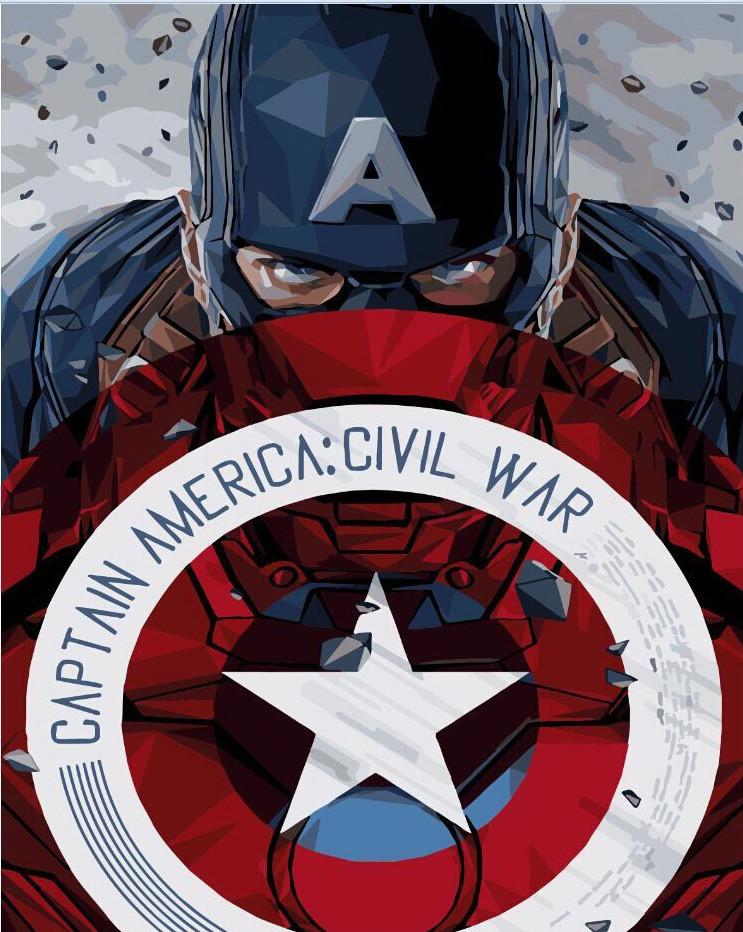 Картина по номерам Капитан Америка со щитом 40 х 50 см (BK-GX3941)