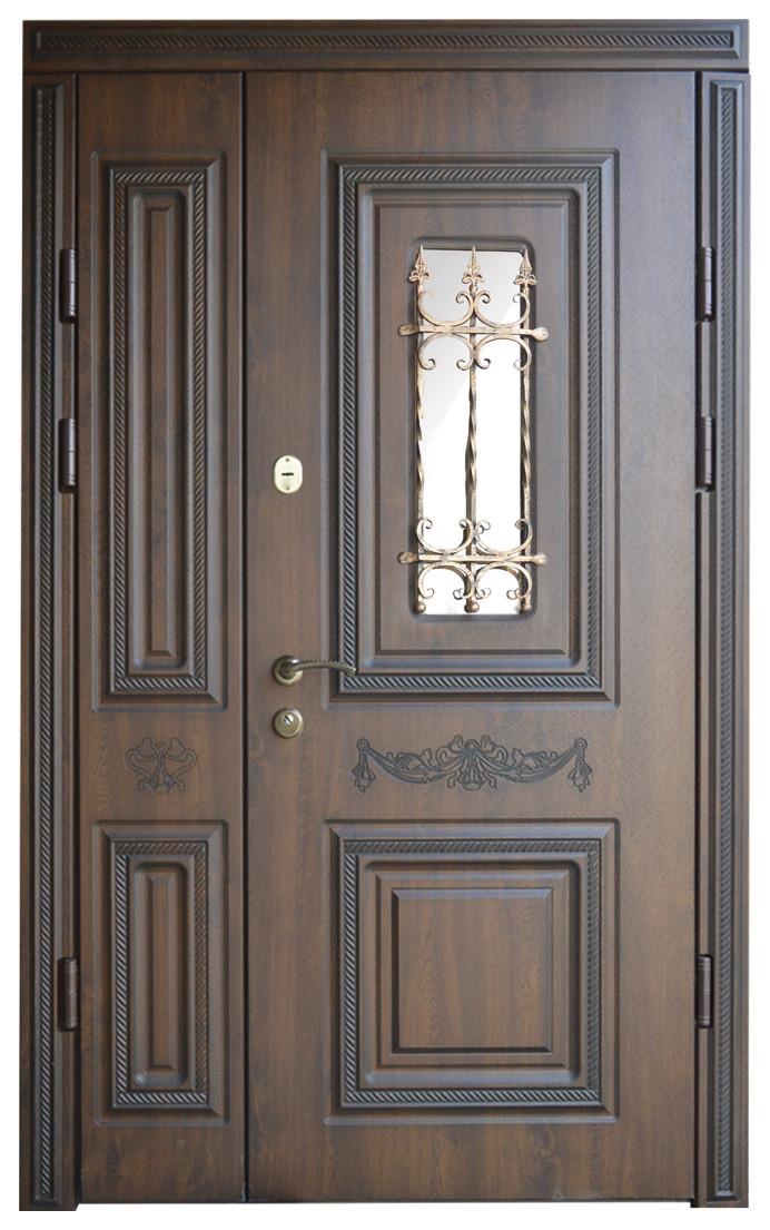 Двери уличные, модель 6, PRESTIGE 1170х2050, стеклопакет, ковка, объемные элементы и патина