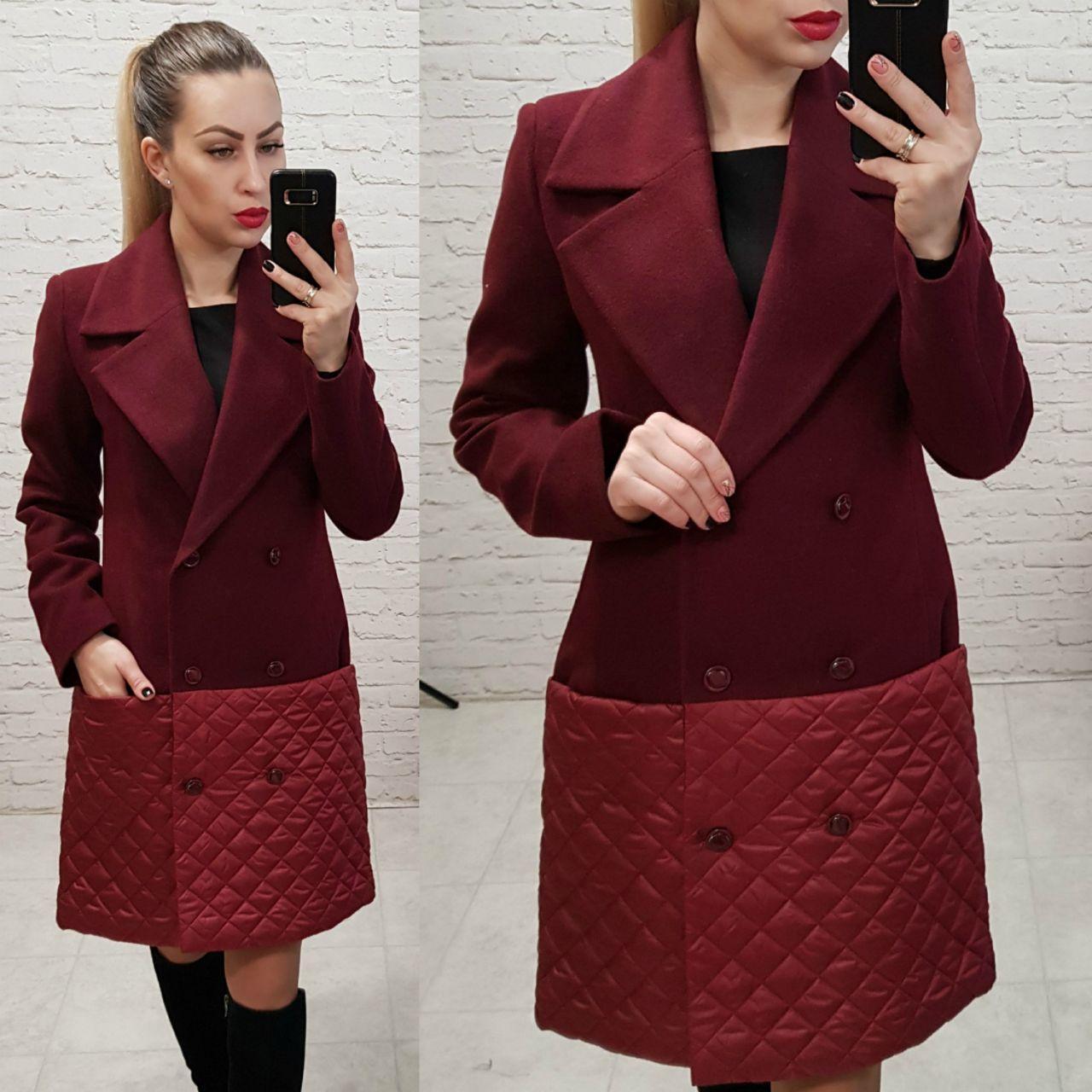 Пальто женское весна - осень арт. 140 марсала / вишня / бордо