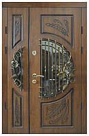 Двери уличные, модель 8, PRESTIGE 1170*2050, VINORIT, 2 замки, накладка 16 мм, ковки, стеклопакеты, патина