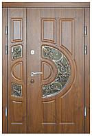 Двери уличные, модель 9, PRESTIGE 1170*2050, замки 2 шт, VINORIT, ковки, стеклопакеты, коробка 90 мм, гнутая