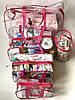 Набор из 3 прозрачных сумок в роддом Mommy Bag - S,L,XL - Розовые, фото 2