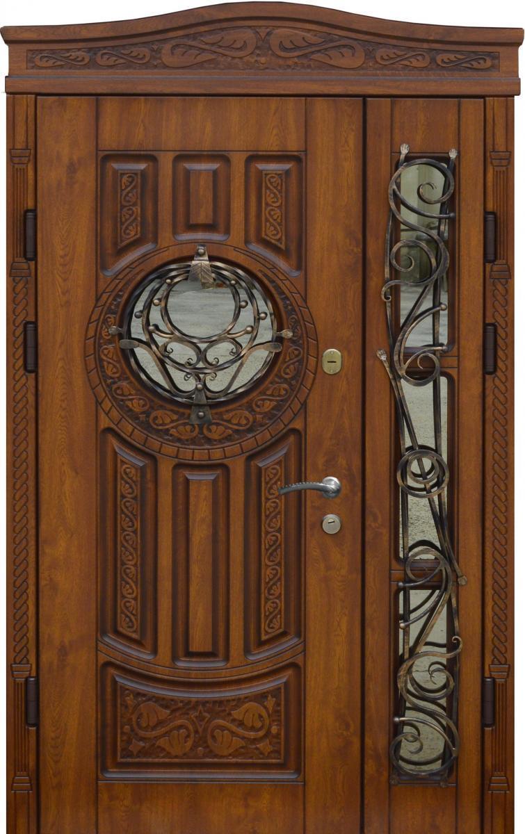 Двери уличные, PRESTIGE 1170*2050, модель 20-54, VINORIT, стеклопакеты, ковки, фрамуга, 3D фрезеровка и патина