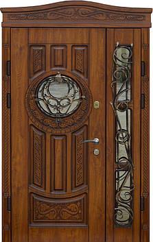 Двери уличные, PRESTIGE 1170*2050, модель 20-54, VINORIT, стеклопакеты, ковки, фрамуга, 3D фрезеровка и патина, фото 2