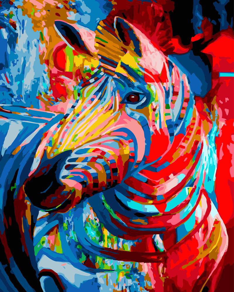 Картина по номерам Цветная зебра 40 х 50 см (BRM23663)
