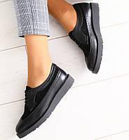 1a9f3dd4f Модные женские кожаные туфли на низком ходу на танкетке замшевые вставки  черные C30KU73-3E