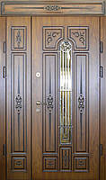 Двери уличные, модель 13 Стандарт 1170*2050, VINORIT, 2 замка, зеркальные стеклопакеты, 3D фрезеровка и патина