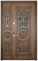 Двери уличные, модель 14 Стандарт 1170*2050, VINORIT, 2 замка, ковка, стеклопакеты, 3D фрезеровка и патина