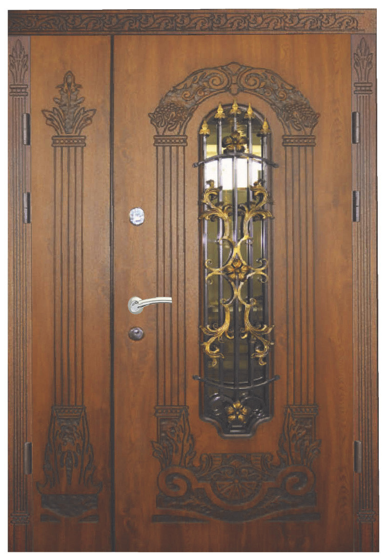 Двері вуличні, модель 15. PRESTIGE 1170*2050, VINORIT, 2 замка, ковка, склопакети, 3D фрезерування і патина