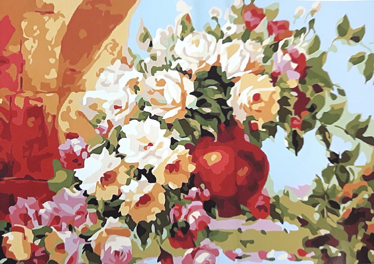 Картина по номерам Розы в глиняной вазе 40 х 50 см (BRM7265)