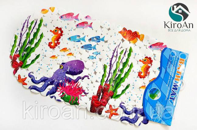 Яскравий дитячий килимок у ванну на присосках (Восьминіг), фото 2