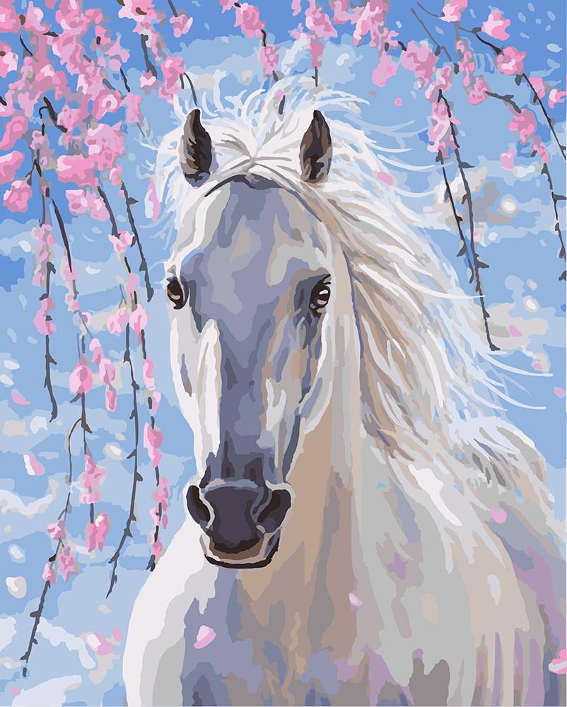 Картина по номерам Лошадь в цветах сакуры 40 х 50 см (BRM8528)