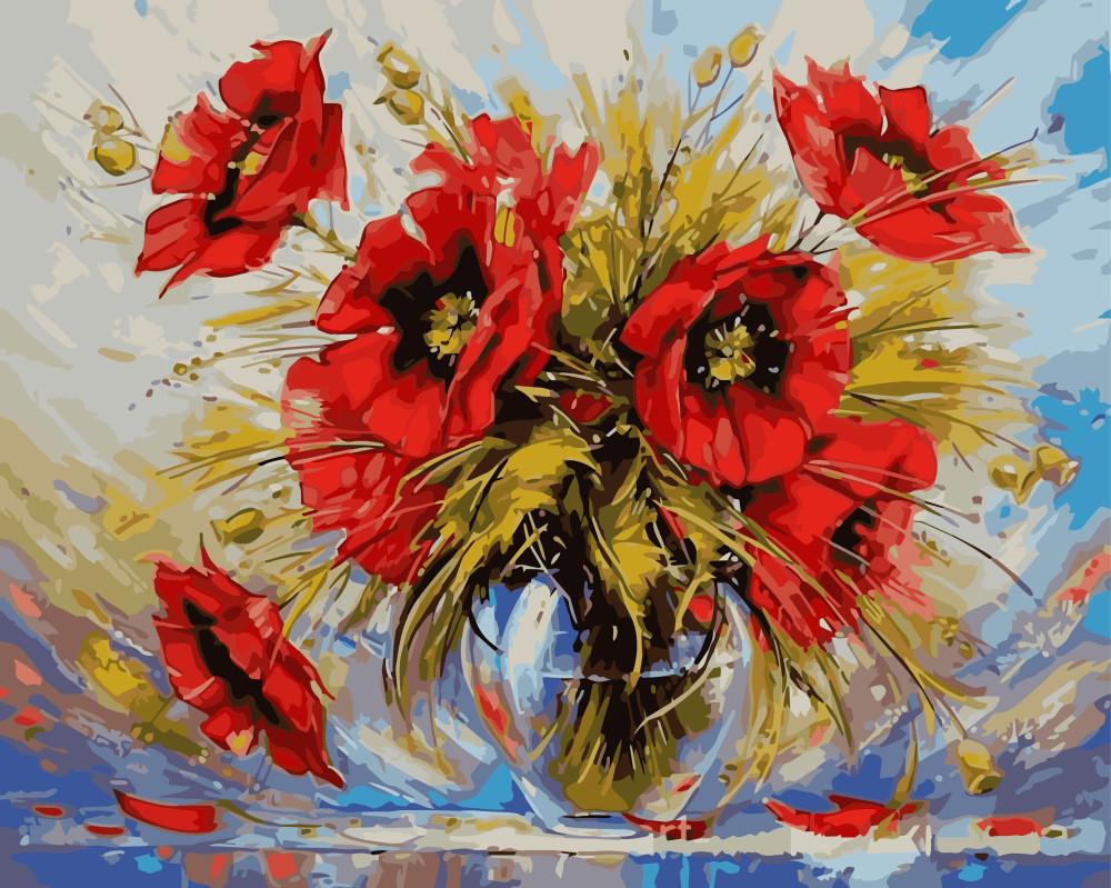 Картина по номерам Маки в стеклянной вазе 40 х 50 см (BRM8839)