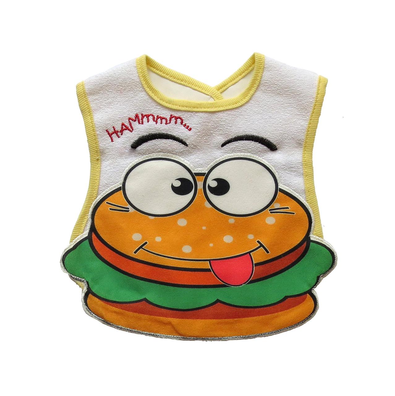 """Слюнявчик """"Гамбургер"""" на липучке"""