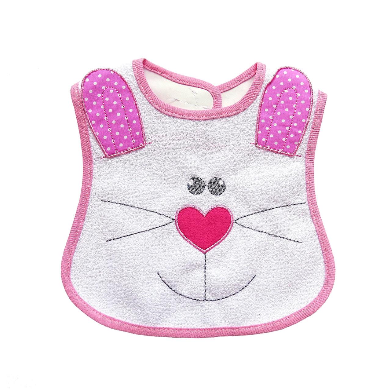 """Слюнявчик """"Кролик"""" для девочки на подкладке."""