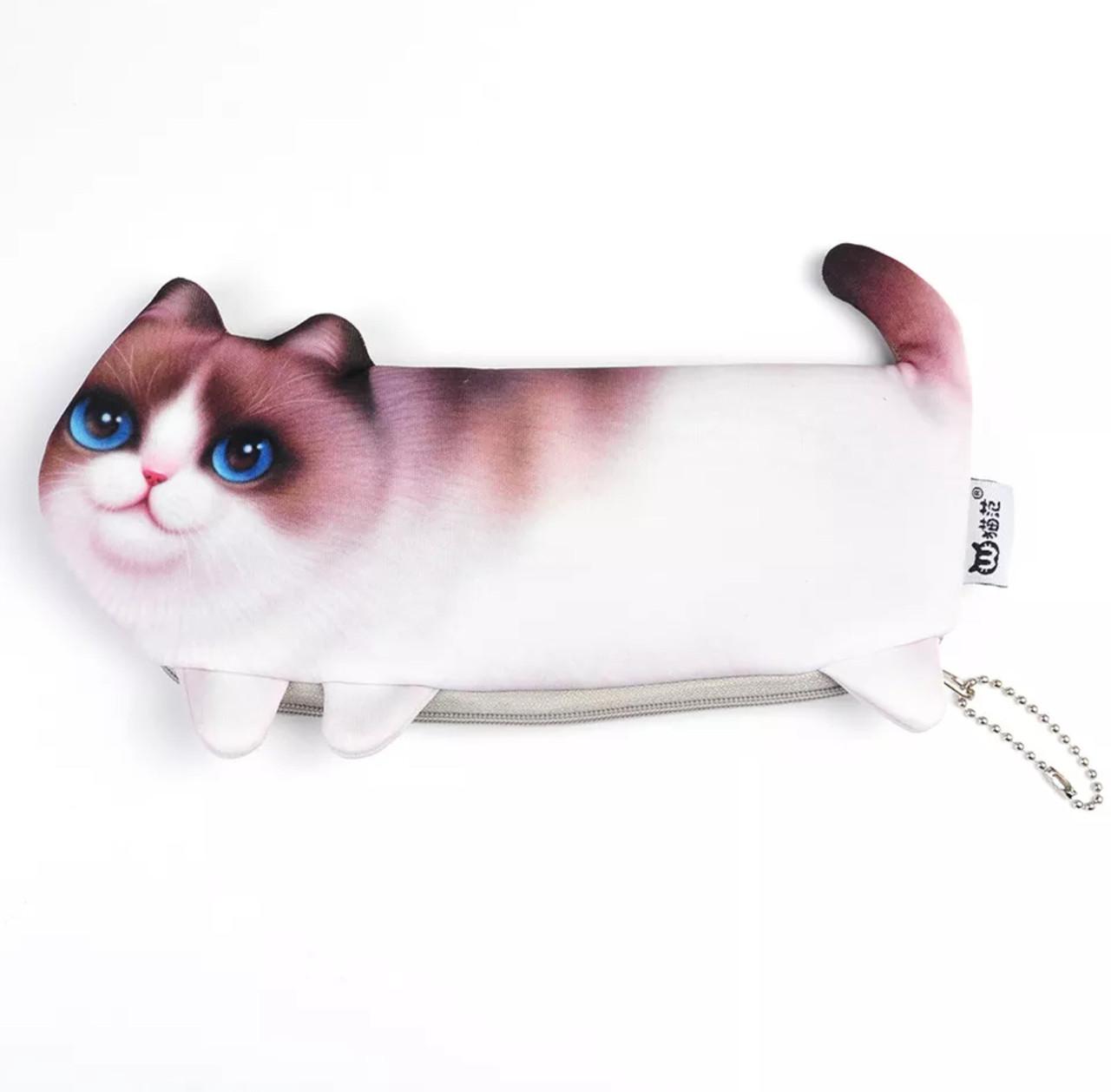 Пенал 3d котик детский и женский милый с котом «Cat 3d» белый