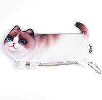 Пенал 3d котик детский и женский милый с котом «Cat 3d» белый, фото 1