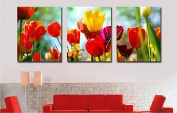 Картина по номерам Триптих. Садовые тюльпаны Триптих 50 х 150 см (DZ093)