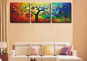 Картина по номерам Денежное дерево Триптих 50 х 150 см (DZ3011)