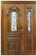 Двери уличные, модель 16 Стандарт 1170*2050, VINORIT, 2 замка, ковка, стеклопакеты, Объёмные элементы и патина