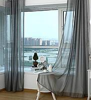 Готовые Шторы комплект для спальни из легкой ткани вуаль серо-графитовый 4 м.