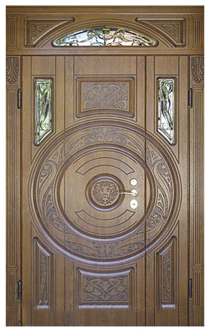 Двери уличные, модель 19 Элит 3D фрезеровка и патина с двух сторон, наличники с фрезеровкой, фрамуга