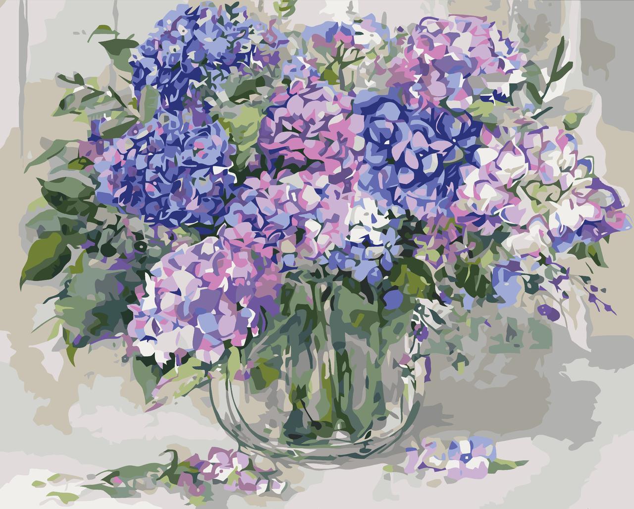 Картина по номерам Гортензия в стеклянной вазе 40 х 50 см (KH2938)