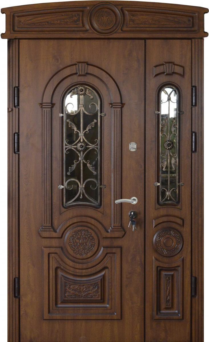 Двери уличные, PRESTIGE 1170*2050, модель 20-57,VINORIT, полуторные с ковками, объемные элементы и патина