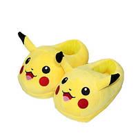 Плюшевые тапочки игрушки Пикачу