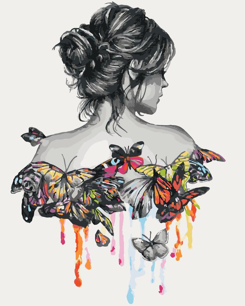 Картина по номерам В окружении бабочек 40 х 50 см (KHO2688)