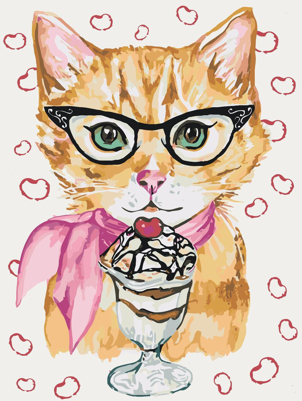 Картина по номерам Котик с мороженым 30 х 40 см (KHO4060)