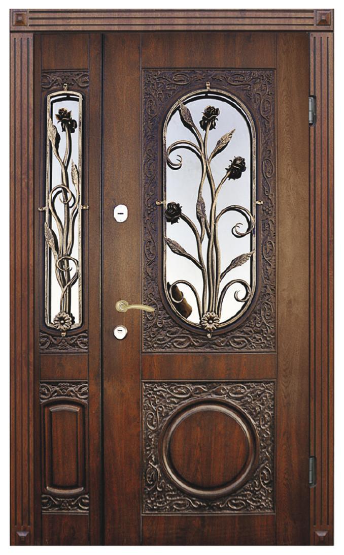 Двері вуличні, модель 26 PRESTIGE, полуторні, VINORIT, коробка 110 мм, 3D фрезерування і патина